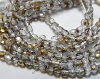 Pale Sapphire with Celsian 2mm Faceted Fire Polished Glass Czech Round Beads (75)