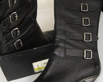 Vintage 90s Black Leather Boots Size 9