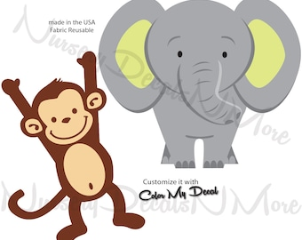 Monkey Decals, Elephant Wall Decal, Repositionable Monkey Decal,  Safari Decals (Elephant Monkey) AOC