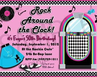 Retro 1950s Style Rock Around the Clock Party Invitation Personalized Digital Invitation C-329
