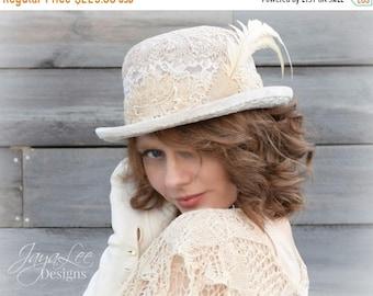 Spring SALE Magnolia Lace Bowler Hat, Victorian Chic, Shabby Chic, Mori Girl Fashion, Boho Chic