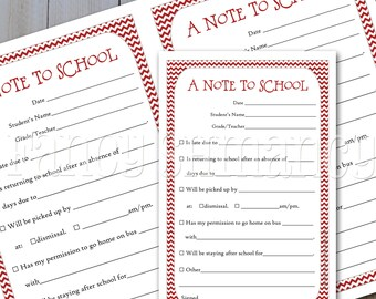 Fill In School Notes / Instant Download / Printable Notes to School /  Red Chevron 41526