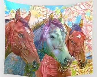 Fairy Horses, Fae Horses, Faerie Horses, Horse Tapestry, Fairy Tapestry, Magical Tapestry, Magical Wall Decor, Magical Horses, Pretty Horses