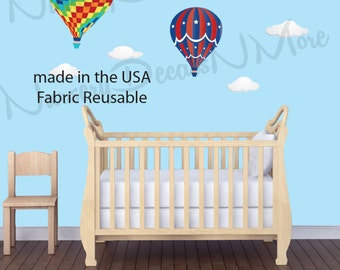 Hot Air Balloon Decal, Cloud Decal for Nursery (Large Colorful Hot Air Balloons) HABCL