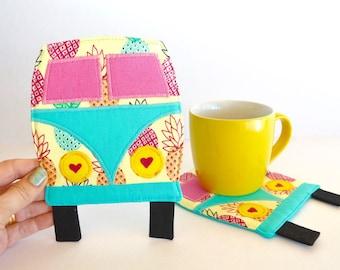 Camper mug rug, Pineapple coaster, road trip, beach house decor, retirement gift, teacher gift, party favors,
