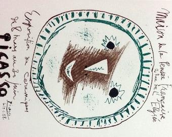 """Picasso 90 """"Exposition de Ceramiques"""" printed 1959  by Mourlot"""