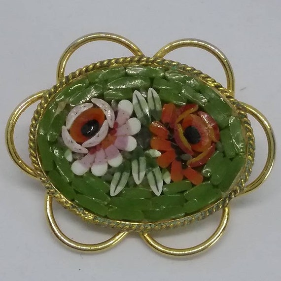 Italian Glass Mosaic Brooch, Vintage Micro Mosaic Pin, Vintage Micro Mosaic Brooch, Italian Glass Mosaic Brooch, Retro Italian Glass Mosaic