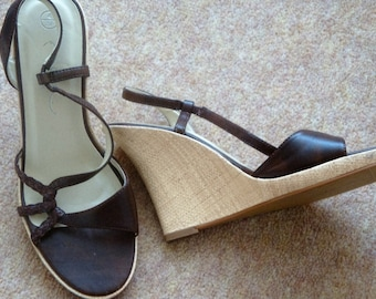 Brown Wedge Sandals size4 uk 37 euro
