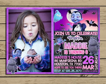 Vampirina Invitation * Vampirina Birthday Invite * Vampirina Birthday Party  Invitation With Photo * Personalized * YOU PRINT