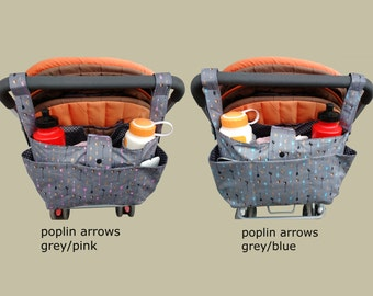 pram caddy / stroller organiser / pram bag /shoulder bag/wheelchair bag organiser/ double stroller caddy. - poplin arrows