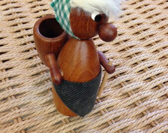 Vintage Mid Century Teak Figural Toothpick Holder fm Denmark