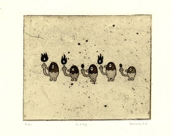 Etching with chine-collé Birds Su-099