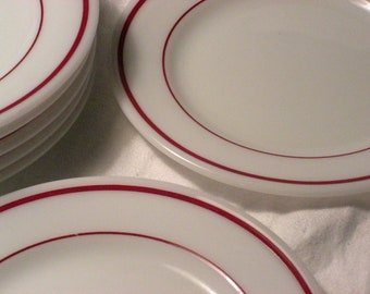 Corning Restaurant Ware Pyrex - Maroon Ruby Band Diner - Horn Blower Milk Glass - Set of 4 Bread and Butter Plates (2 sets available)