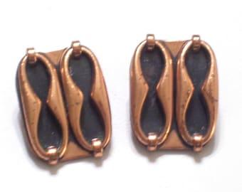 Vintage RENOIR Copper Enamel ESPANA Modernist Clip Earrings, Modernist Renoir Earrings, Mid Century Modern