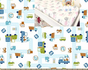 Flannel Cars Changing Pad Cover Contoured Changing Pad Cover Transport Nursery 100% Cotton Flannel Modern Nursery Baby Boy Girl