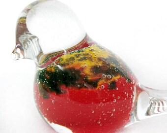 Red Glass Bird, Interior Deco, Ornament Collectible, Blown Glass, Glass Gift, Glass Work, Glass Sculptures, Gift Idea, Sea Glass, Sculpture