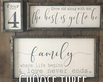 Farmhouse Sign set, farmhouse wall decor, family est sign, grocery sign, number sign, coffee sign, gallery wall sign, rustic wood signs