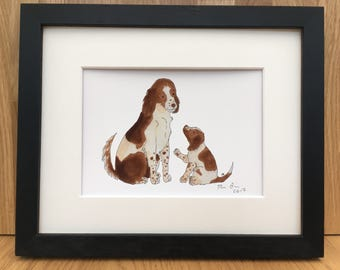 Springer spaniel mother & puppy, signed giclee print 5x7 inch