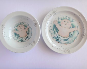 Vintage 1984 Royal Worcester Cabbage Patch Kids Matching Fine Porcelain Plate And Bowl Set