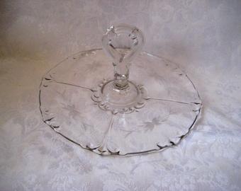 Clear glass serving platter with handle, sandwich platter, wedding server, decorative platter, 913