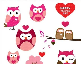 Sweet Valentine Owls - Digital clip art. - Use for cards-scrapbooking  -digital art - PNG images-digital sheet