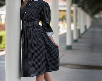 Vintage Black And White Polka Dot Dress (Size Medium)