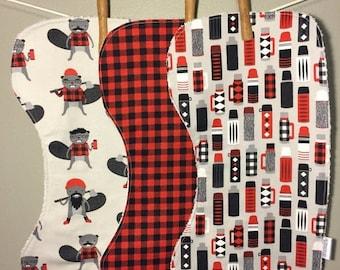SALE Kaufman Burly Beavers Baby Burp Cloth or Bib Set