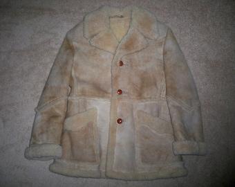 Vintage Piapa Ltd NY Shearling Sheepskin Bomber Mountain Man Bane Shaft Men's Jacket Coat Size 44