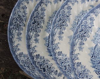 Vintage CHURCHILL CHINA The Brook Blue (Made in England) Set of 4 Dinner Plates by CHURCHILL The Brook Pattern Blue China & Churchill plates | Etsy