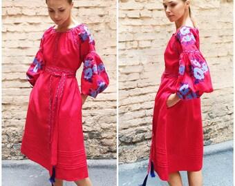Midi Ukrainian vyshyvanka dress with embroidered blue poppy flowers in red linen - boho chic & modern folk ethnic ukrainian style