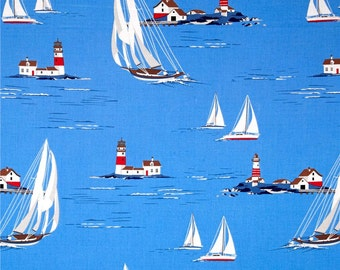 """Sailboats Lighthouse curtain valance 41"""" wide x 15""""long/height in 100% cotton - handmade new."""