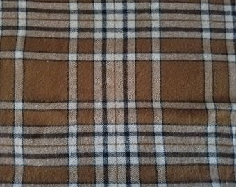 Plaiditudes Plaid Brushed Cotton Mini Oatmeal Cream Black Flannel Fabric (1.5 yards)