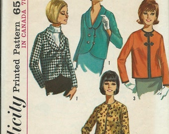 1965 Simplicity 6240 Misses Set Of Jackets Sewing Pattern, Size 12, Bust 32, UNCUT