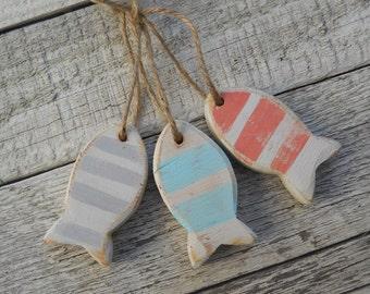 Wooden fish ornaments, beach decor, nautical decor, set of three, beach wedding decor