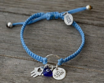 Protection Bracelet with Sterling Silver Kabbalah Charm, Hamsa Hand and Heart Evil Eye