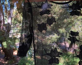 Surreal Lace Dress, Bohemian style maxi, Boho sheer lace kaftan, One size fits all, size XS Small Medium, black