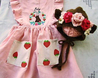Baby Bear Dress Embroidery on Pink or Oatmeal Linen for Baby or Toddler Girl