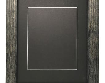 """11x14 1.75"""" Rustic Black Solid Wood Picture Frame with Black Mat Cut for 8x10 Picture"""