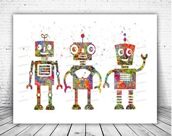 Robot Watercolor poster Print Nursery wall art canvas Painting Pictures Kids Room Decor wall hanging house warming Easter Birthday gifts