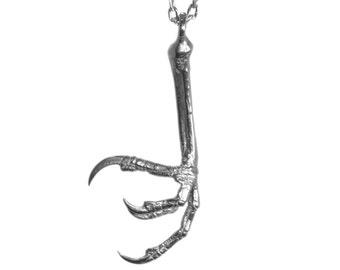 Sterling Silver Bird Claw Necklace silver Bird Jewelry Talon Pendant
