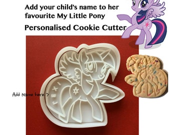 Personalised My Little Pony Cookie Cutter Twilight Sparkle customised name birthday cookie cutters My Little Pony party