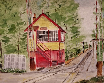 """Original watercolor painting,painting of train station, landscape painting,train station painting,""""A QUIET DAY At The Track"""", 16 w x 10""""h"""