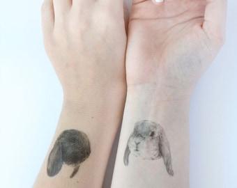 "Temporary ""Bunny Tatts"" Tattoos - Set of three cool fake rabbit tatts quick bun waterproof non toxic tats for kids Cute festival fun"