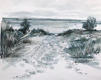 Original artwork , Pen and Ink original, Lake Michigan artwork, Michigan Art , ink sketch, ink illustration , beach sand, Dune grass artwork