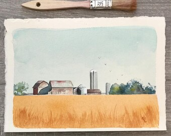 barn and silo and wheat field original watercolor painting
