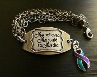 Teal and Purple Ribbon Bracelet - She Believed She Could - Domestic Violence Awareness / Rape Survivor / PKD / Polycystic Kidney Disease