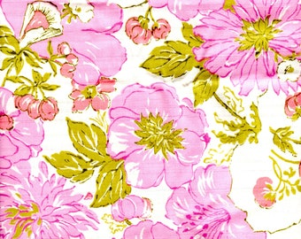 Vintage Cotton Blend Fabric 3 Yards Pink Floral Print Dress Weight Sewing Quilting Crafting Fabric 5182