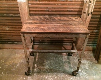 Captivating Kitchen Cart With Reclaimed Wood Top And Distressed Steel Base