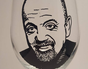 Hand Painted Glass, Painted Wine Glass, BILLY JOEL