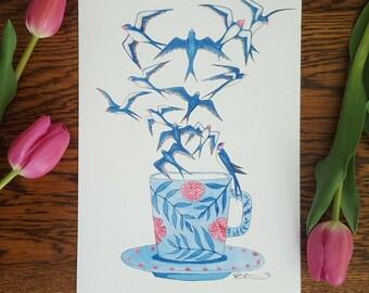 Coffee Cup Birds Watercolour A4